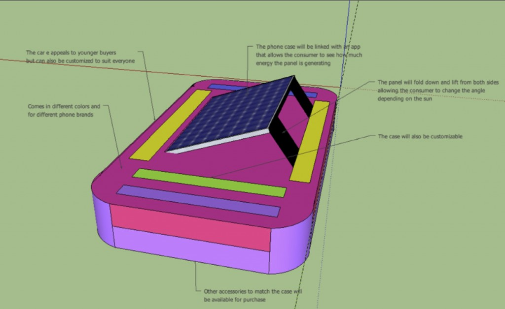 SketchUp drawing of a solar phone case concept
